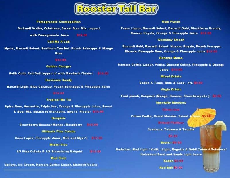 Rooster Tail Bar Drink Menu at Valentines Resort Bahamas