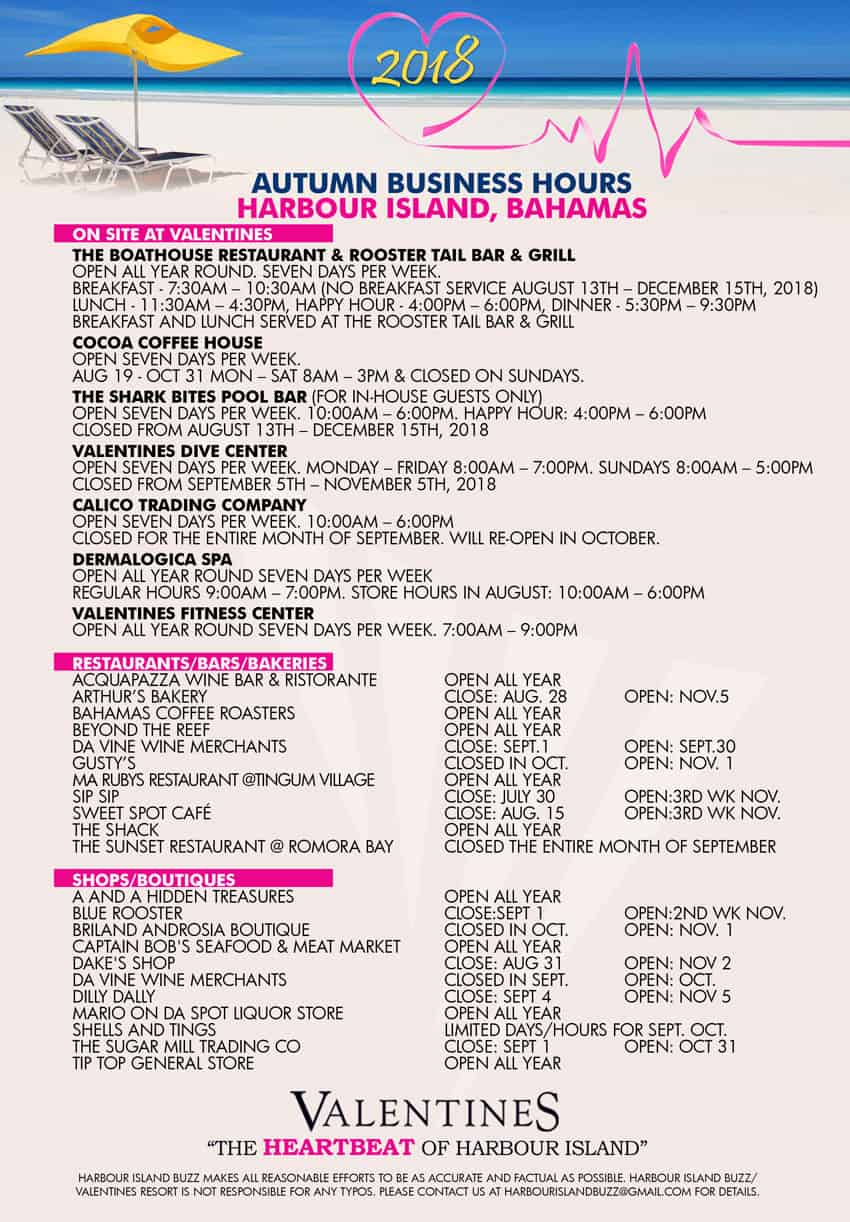 Harbour Island Autumn 2018 Business Hours